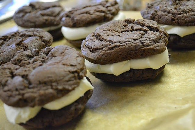 Easy Whoopie Pies...to make it even easier, just use store bought frosting.  These don't last longer than 24 hours in our house.