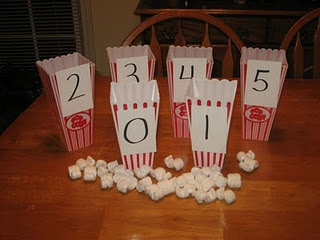 Counting with popcorn bowls and packing peanuts