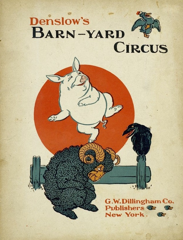 """W.W. Denslow's leaping pig on the cover of """"Barnyard Circus"""" from theBaldwin Library of Children's Literatureat the University of Florida."""