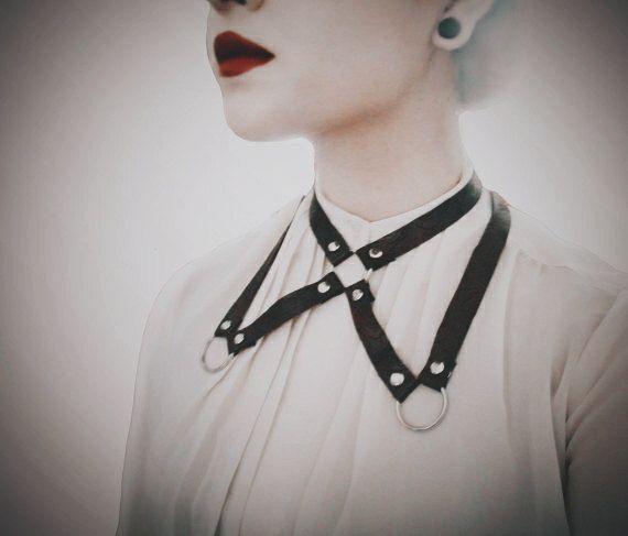 SALE Harness Collar Bondage Harness Jewelry Edgy Fashion Goth Gothic Alternative Fashion Christmas Gift
