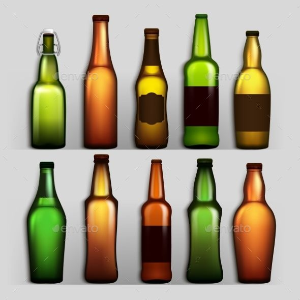 Beer Bottles Set Vector Beer Bottle Bottle Wine Bottle Trees