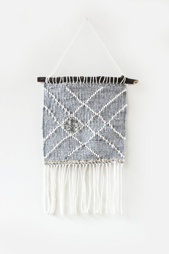 Grey Lined Woven Wall Hanging