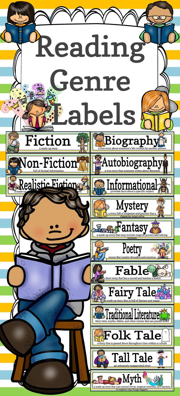 These 21 reading genre labels are great for library and classroom organization! Use on shelves, book bins, or even as decor! https://www.teacherspayteachers.com/Product/Reading-Genre-Labels-1910351 #backtoschool