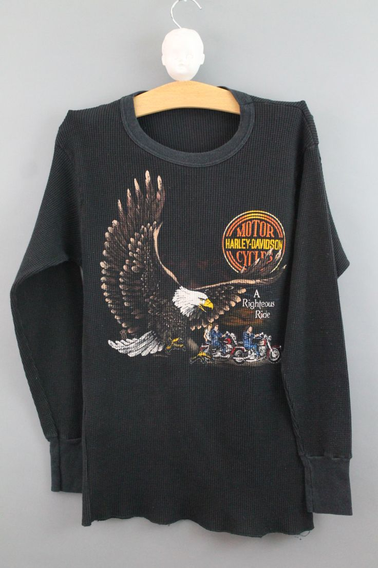 Harley Davidson Motorcycle Vintage 80s Thermal Long Sleeve