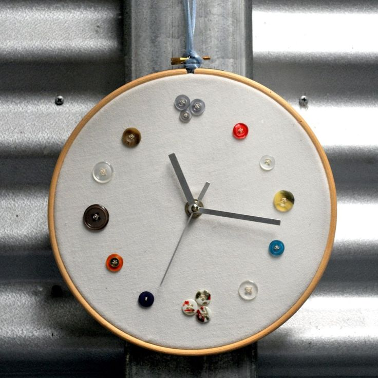 Craft room clock made with embroidery hoops