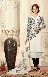 Sizzling White Color Fashionable Unstitched Straight Suit For This Diwali