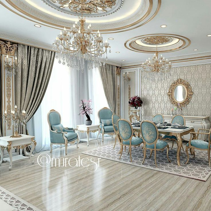 Blue And Gold Dining Room