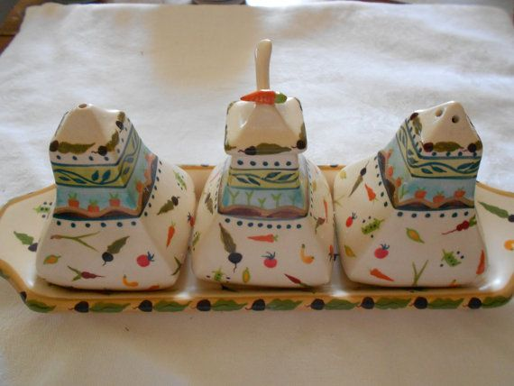 Vintage Hand Painted 3 Condiment Set with Tray by ArtFullVintage, $24.00