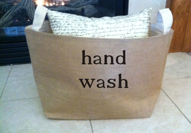 lined burlap hand wash basket , burlap storage tote, laundry basket by MinnieandMaude on Etsy