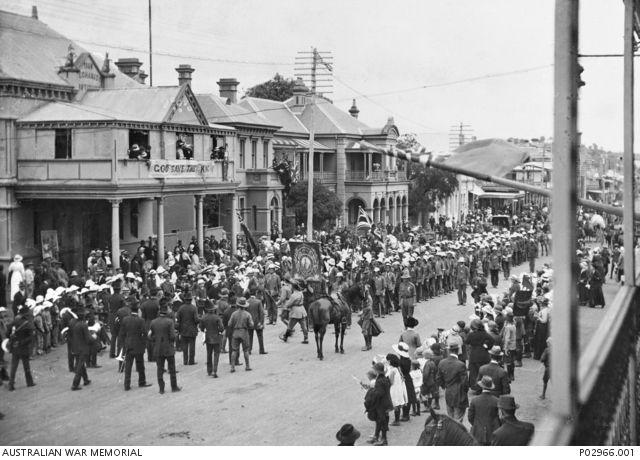 Yass, NSW. c. 1915. The Kangaroos recruiting march stopped in front of the Mechanics Institute. Starting from Wagga Wagga in December 1915 with 88 men, the group had grown to 230 by the time they ...