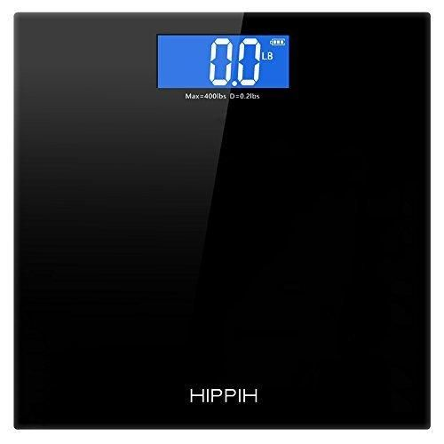 Hippih 400lb / 180kg Electronic Bathroom Scale with Tempered Right Angle Glass Balance Platform and Advanced Step-On Technology Digital Weight Scale has Large Easy Read Backlit LCD Display D-010