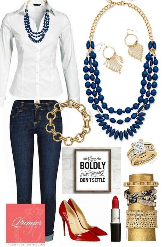 DSJ white shirt red heels navy and gold jewelry