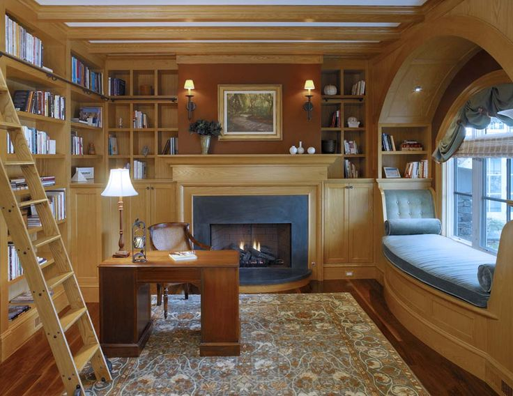 Home Library with Window Seat-05-1 Kindesign