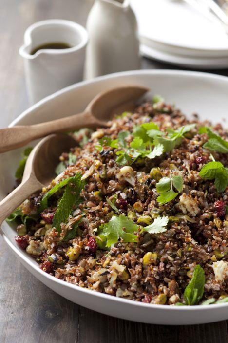 Entertaining Salads | Black Lentils, Spicy Cauliflower and Rice Salad