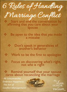 6 Rules of Relationship Conflict--Want to get over conflict in your marriage? Just follow these steps, and you'll find conflict can build your marriage, not destroy it https://twitter.com/NeilVenketramen