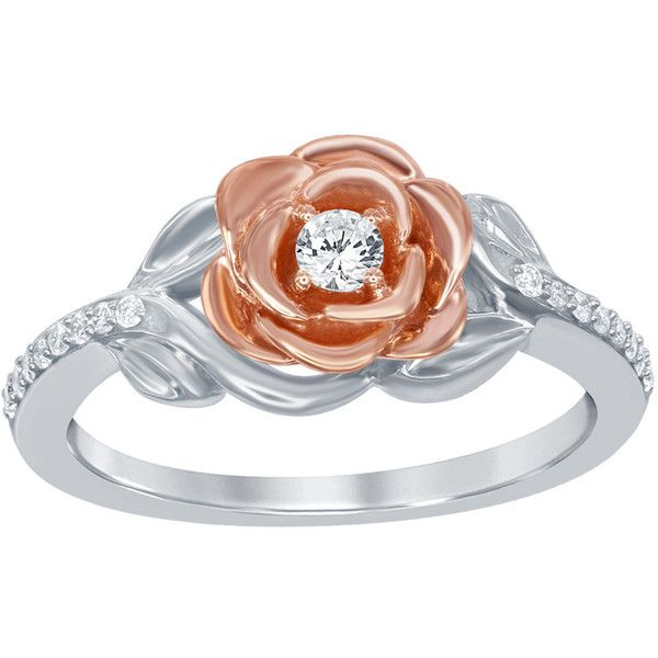 Enchanted Disney Diamond Belles Rose Fashion Ring in 10K White and... ($599) ❤ liked on Polyvore featuring jewelry, rings, white, rose gold jewelry, diamond leaf ring, rose diamond ring, rose gold band ring and flower rings