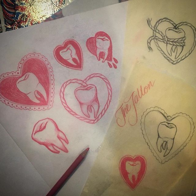 Working on new pin and patch designs... @thetallonco #tattoo #tooth #toothdrawing #toothdesign #heart #toothandheart #london #pins #patches #design #wip #tattoomerch #illustration #drawing #thetallonco