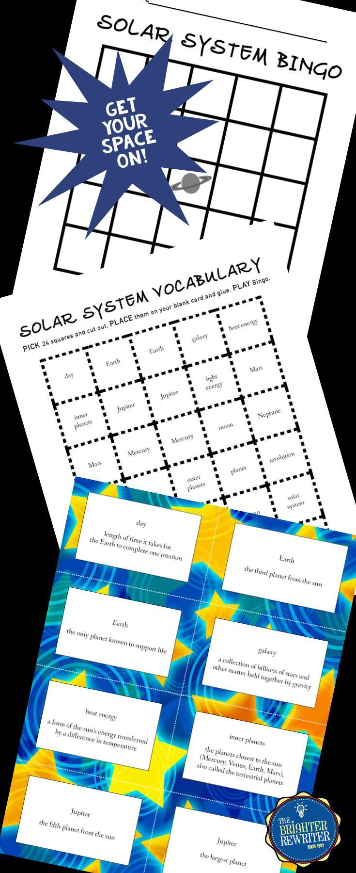 Bingo game reviews facts about the 8 planets and other solar system vocabulary. Students create their own bingo cards either by writing or by cutting out and attaching 24 choices onto a blank bingo card.
