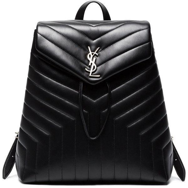 Saint Laurent Black Lou Lou Matelassé Leather Backpack (113.040 RUB) ❤ liked on Polyvore featuring bags, backpacks, black, monogrammed backpacks, day pack backpack, rucksack bag, leather backpack bag and day pack rucksack