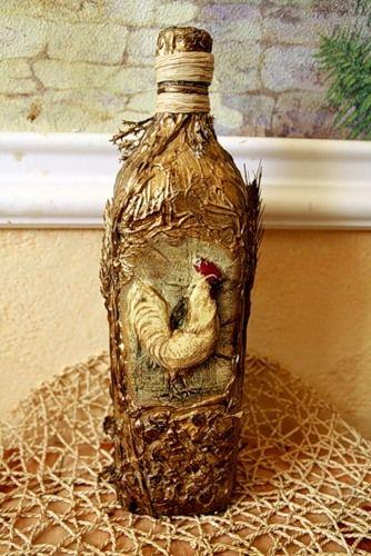 Как задекорировать бутыль в деревенском стиле - Ярмарка Мастеров - ручная работа, handmade