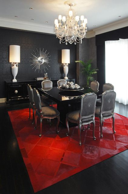 Sultry, Eclectic Dining Room..check Out The Crimson Patchwork Rug. Delish!