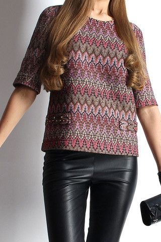 "Top with golden crystals from the new SS15 collection ""Venice"". Balance the silhouette with skinny jeans - black will make the design really pop."