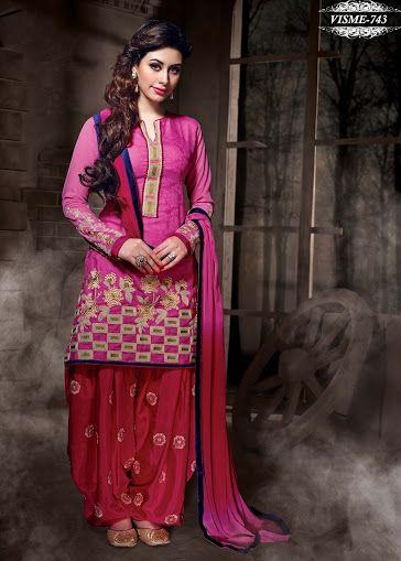 Shonaya Pink Designer Embroidered Silk Cotton Dress Material