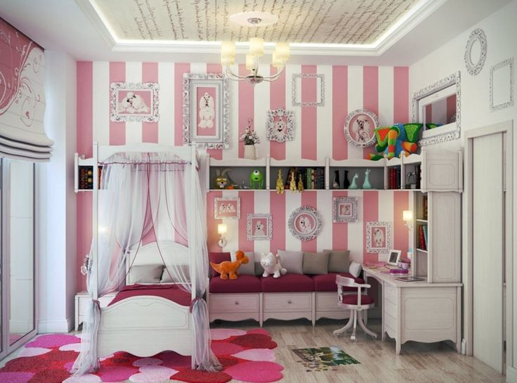 Feminine white and pink striped wall girls bedroom with mini bed