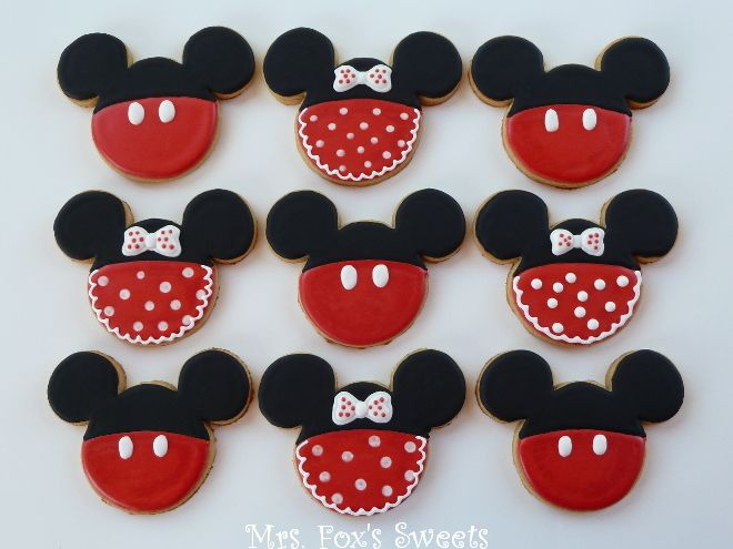 Mrs. Fox's Sweets: Mickey & Minnie Mouse Cookies - Cute ideas on how to decorate cookies made with that Mickey cookie cutter you bought during your Disney vacation!