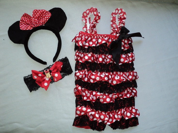"The happiest place on earth will be your house!  Your princess needs this colorful and sweet lace and satin ruffled Minnie Mouse romper in S, M, & L with matching black velvet ""ears"" headband, and a matching black lace headband with a Minnie Mouse embellishment on a red and white polka dot grosgrain bow on an alligator clip.  Party and photo perfect! $16.95 including shipping, seen on ebay!"