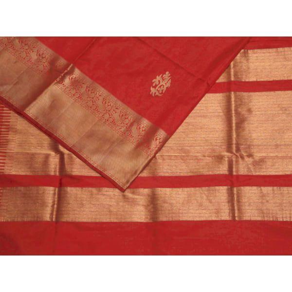 Red Kanchipuram Silk Handloom Saree with Nilambari Buta Design k0202