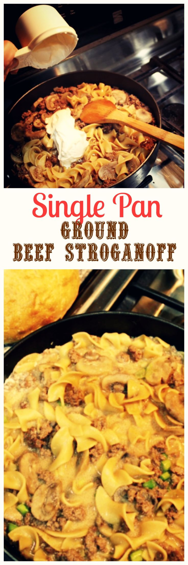 This Ground Beef Stroganoff recipe is made in one pan without canned soup.