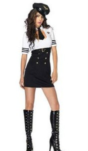 Air Hostess / Stewardess Fancy Dress Costume 4 piece outfit  Sexy Flight Attendant with Attached Choker  Includes : Dress / Hat / PVC Belt / Badge / Thong