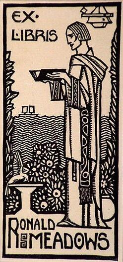 Ex libris Ronald Meadows (c. 1932) by Christian Waller (Australian, 1894-1954)