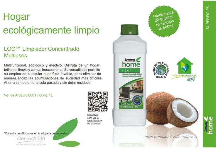 Hogar ecologicamente Limpio LOC Limpiador Concentrado Multiusos. Cómpralo aquí: http://www.amway.es/user/laiaromaalonso y te lo mando donde quieras. :)