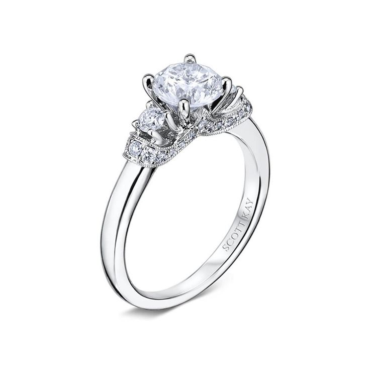 14kt White Gold (H/SI) Ladies Bold Intricate Engagement Ring From the Radiance Collection by Scott Kay