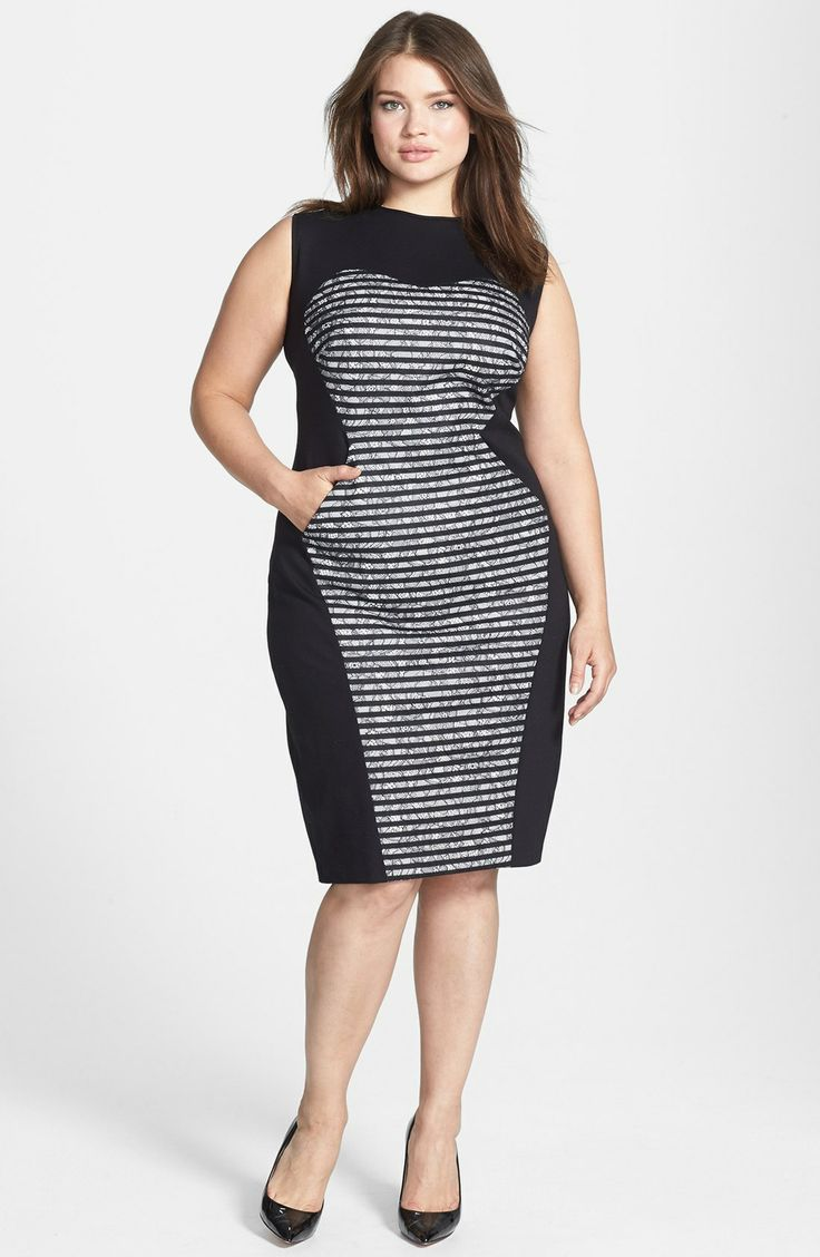 ABS by Allen Schwartz - Bonded Stripe Lace Dress