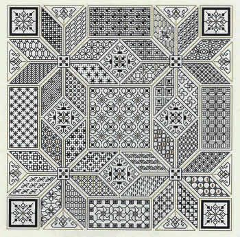 """Become starry-eyed with Blackwork pattern and enjoy all of the 41 different filler stitches.  On 14 count fabric,  the finished design size of the piece is 112 x 112 stitches (8"""" x 8"""").  Take on this challenge and light up the sky with this dazzling Blackwork creation.  Supplies required: 14"""" (6"""" for finishing) 14 count Aida cloth (3706-100)  DMC floss (DM001-0310) and gold metallic DMC (DM001-E3852)    Mill Hill frosted glass beads were also used (MH62031) to add a few gold speckles here…"""