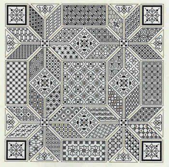 Blackwork pattern - 41 different filler stitches.