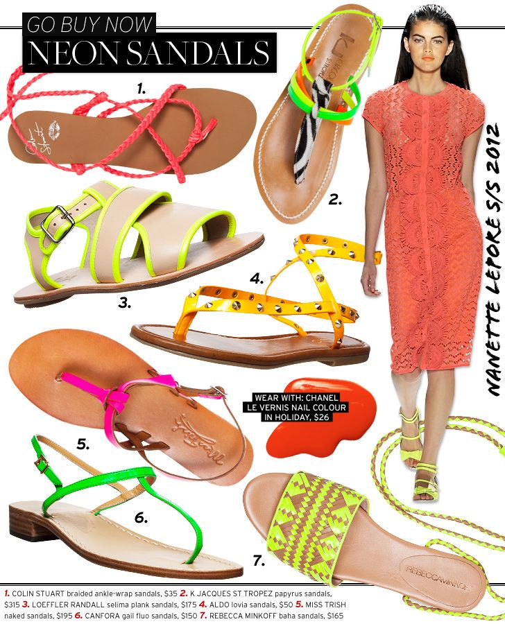 Go Buy Now: Neon Sandals - Celebrity Style and Fashion from WhoWhatWear