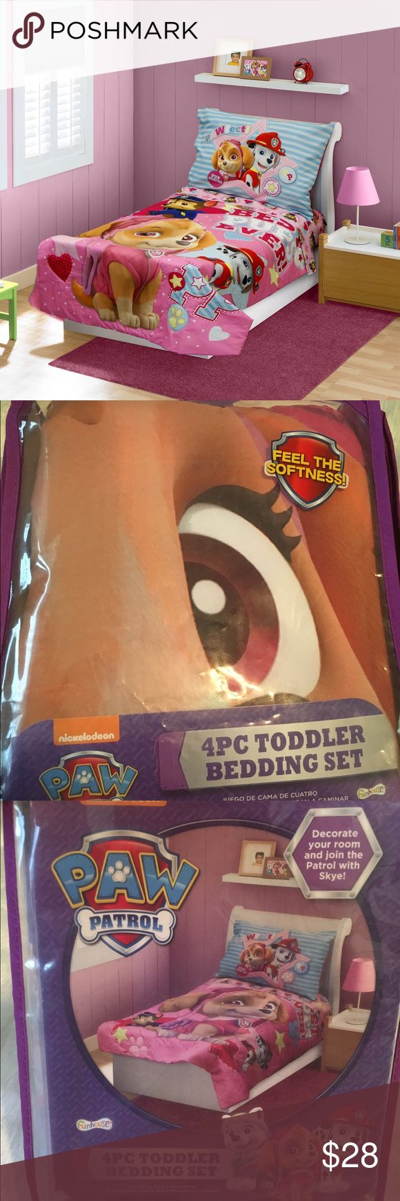 """Paw Patrol Skye 4 pc Bedding Set Your child's favorite Paw Patroller, Skye, is featured in the Best Pups Ever 4-Piece Toddler Bedding Set. A reversible bedspread featuring Skye, Chase and Marshall with a Best Pups Ever theme reverses to an allover Paw Patrol Print. The flat sheet and fitted sheet feature the same allover print. Completing with a matching pillow case featuring a print of your child's Paw Patrol friends.   Bedspread: 42"""" x 58"""" Flat sheet: 45"""" x 60"""" Fitted sheet: 28"""" x 52""""…"""