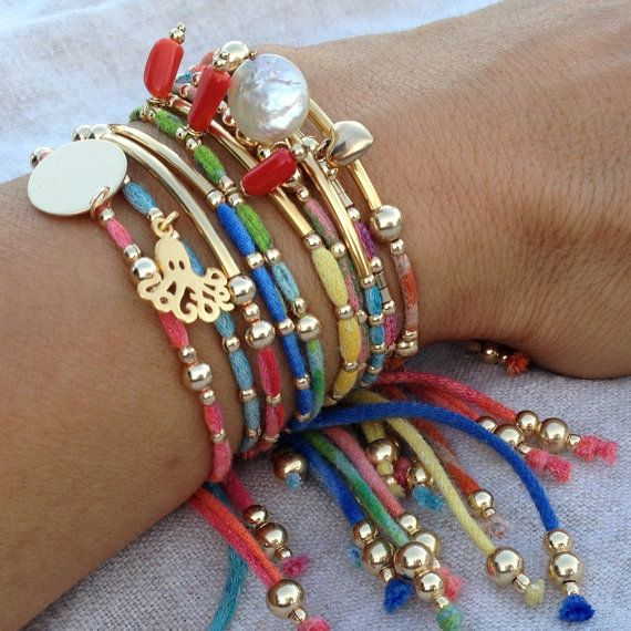 Arm Candy Set of 10 colorful stack   bracelets 14k Gold Filled 24k gold vermeil charms, Boho chic Eco-friendly organic Friendship Bracelets.. $168.00, via Etsy.
