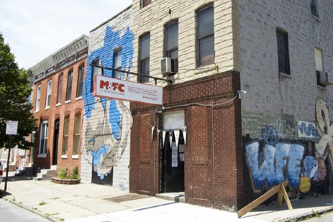 Men & Families Center identity, logo and signage, in East Baltimore