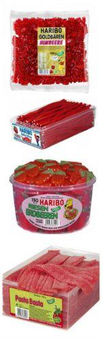 #DIYcandybar in rot... wer träumt nicht von einer candybar auf der eigenen Hochzeit? Hier kannst du günstig die passenden Süßigkeiten finden :) [I love #HARIBO] #redwedding
