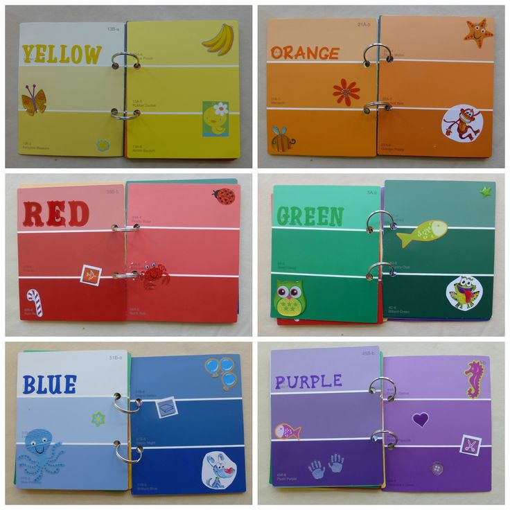 Homemade Color Book.  Made with paint samples.  Teach colors and that there are different shades of each color
