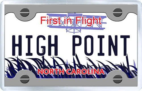 $3.29 - Acrylic Fridge Magnet: United States. License Plate of High Point North Carolina