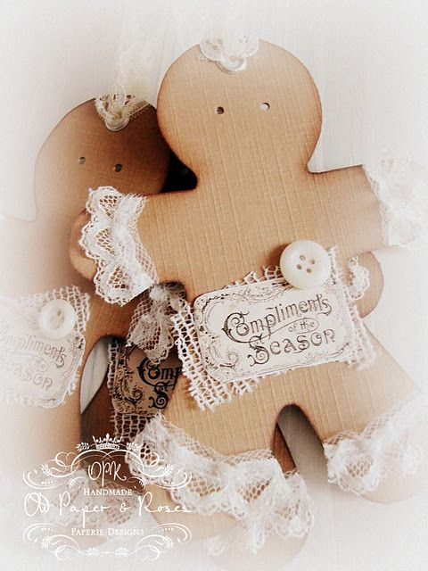 Christmas decorations: Paper Rose, Christmas Crafts, Vintage Graphic, Christmas Decorations, Lace Gingerbreadman, Gifts Tags, Gingerbread Man, Gingerbread But, Christmas Gingerbread