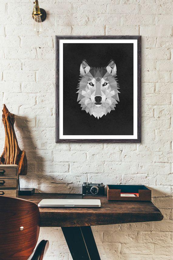 Polygonal Wolf Etsy listing at https://www.etsy.com/listing/243951355/polygonal-wolf-poster-animal-print