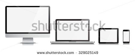This image is a vector file representing a realistic Monitor, Computer, Laptop, Tablet and Phone Vector Devices./ Vector Set of Monitor Laptop Tablet and Phone/ Set of Monitor Laptop Tablet and Phone
