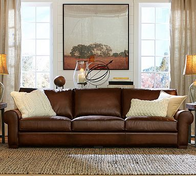 Turner Leather Roll Arm Sofa #potterybarn. $2799 including delivery after 30% off.